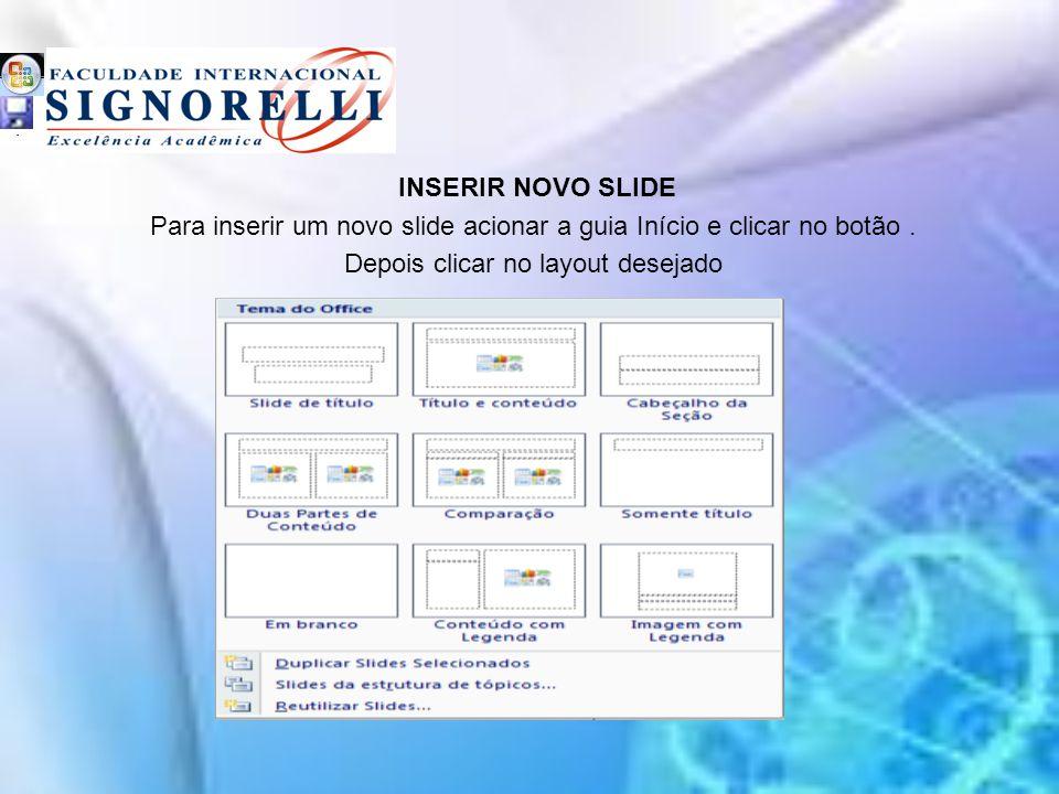 INSERIR NOVO SLIDE Para inserir um novo slide acionar a guia Início e clicar no botão.
