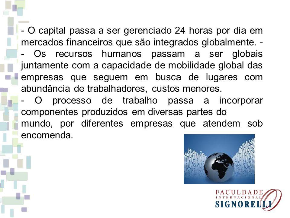 - O capital passa a ser gerenciado 24 horas por dia em mercados financeiros que são integrados globalmente.
