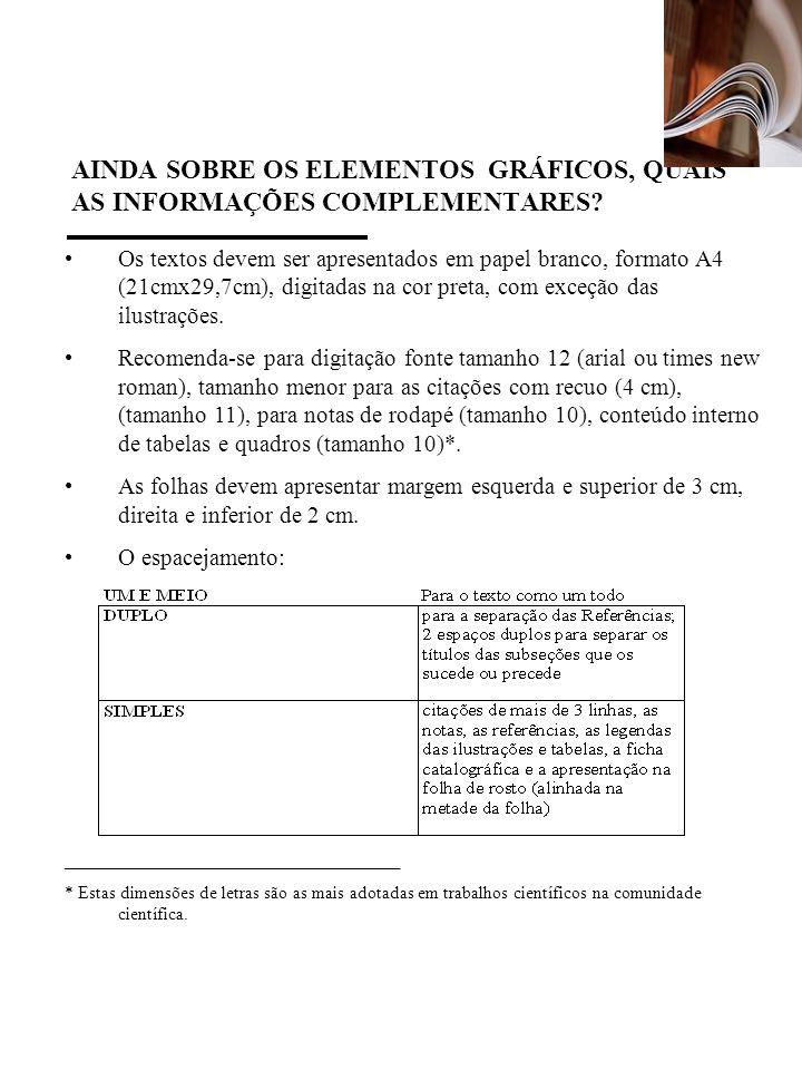 AINDA SOBRE OS ELEMENTOS GRÁFICOS, QUAIS AS INFORMAÇÕES COMPLEMENTARES? Os textos devem ser apresentados em papel branco, formato A4 (21cmx29,7cm), di