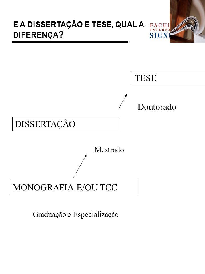E A DISSERTAÇÂO E TESE, QUAL A DIFERENÇA ? MONOGRAFIA E/OU TCC Graduação e Especialização DISSERTAÇÃO Mestrado TESE Doutorado