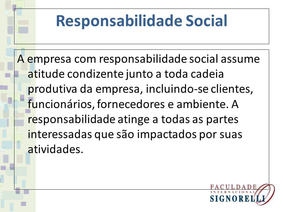 Grau de envolvimento das organizações Obrigação Social: são as empresas que buscam apenas satisfazer as obrigações sociais mínimas impostas pela lei.