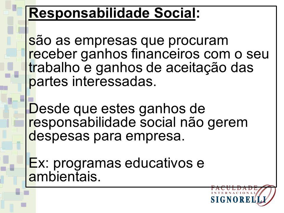 Sensibilidade Social: são as empresas que atuam com responsabilidade social, mas também estão se antecipando aos problemas sociais do futuro.