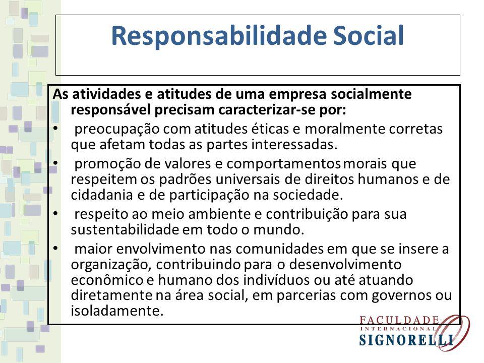 Responsabilidade Social A Responsabilidade Social pode estar apoiada no: Assistencialismo (doações, ajudas pontuais) Sustentabilidade (capacidade de transformação e continuidade)