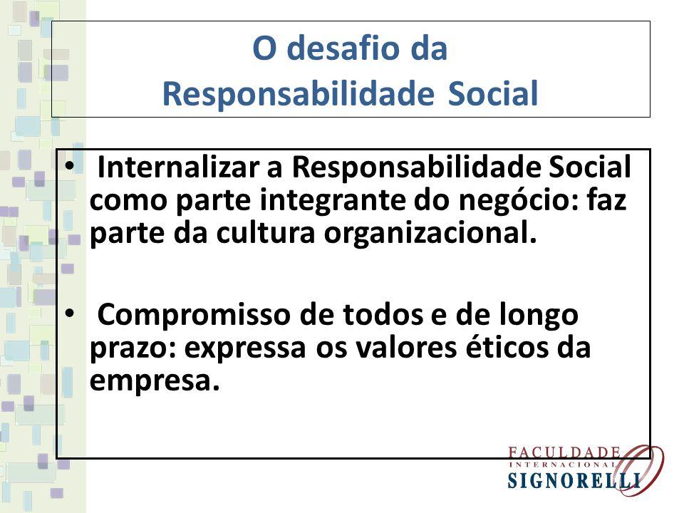 O desafio da Responsabilidade Social Responsabilidade Social possa trazer uma vantagem competitiva: é bom para o negócio.