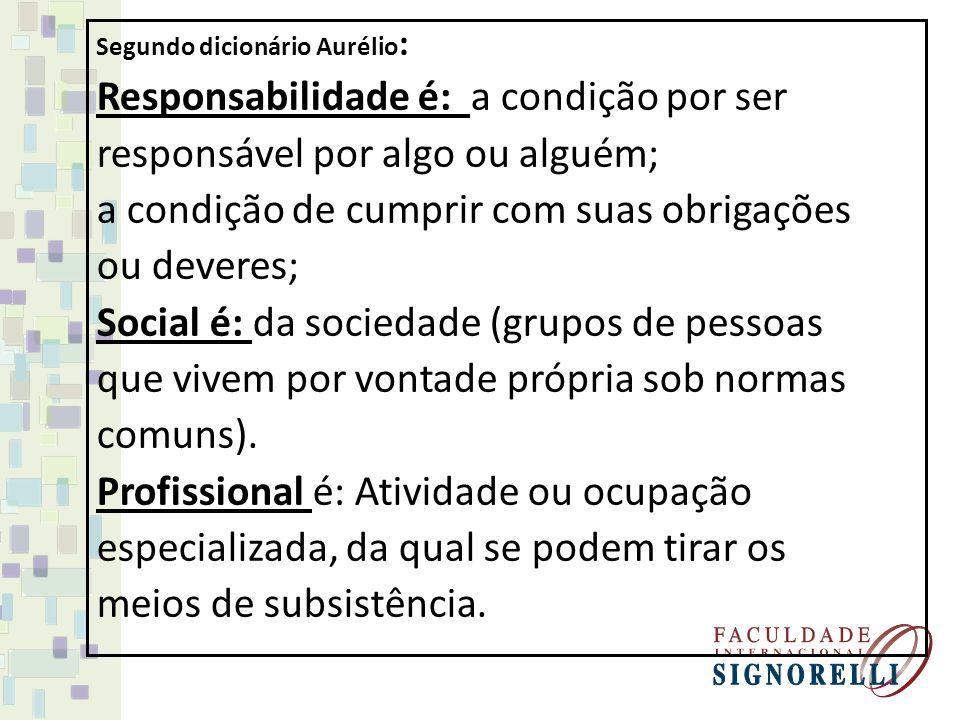 Responsabilidade x Social x Profissional As pessoas convivem em espaços: da comunidade (ambiente fora do espaço de trabalho) e da organização (ambiente de trabalho).