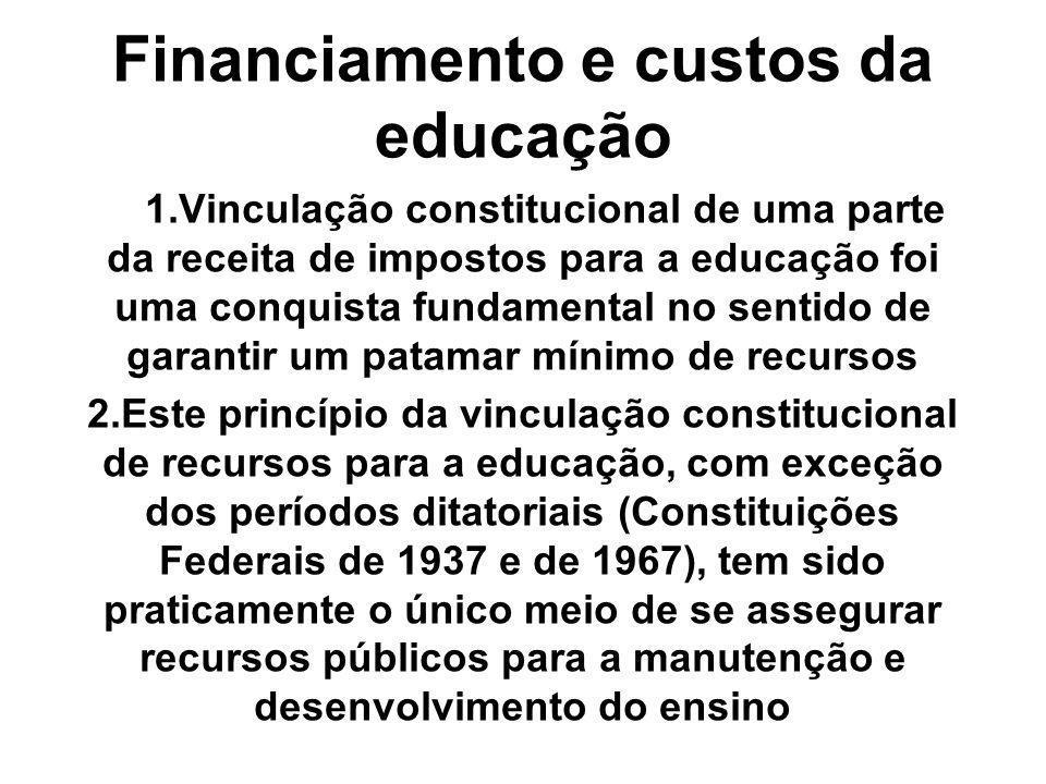Financiamento e custos da educação 1.Vinculação constitucional de uma parte da receita de impostos para a educação foi uma conquista fundamental no se