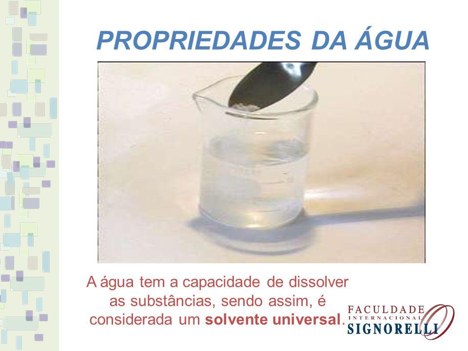PROPRIEDADES DA ÁGUA A água tem a capacidade de transporte de líquidos ou partículas.