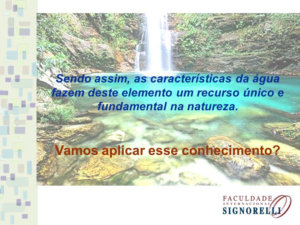 Sendo assim, as características da água fazem deste elemento um recurso único e fundamental na natureza.