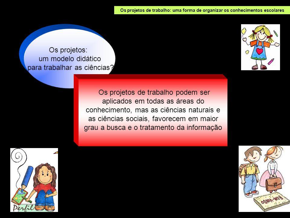 Os projetos de trabalho: uma forma de organizar os conhecimentos escolares Os projetos: um modelo didático para trabalhar as ciências.