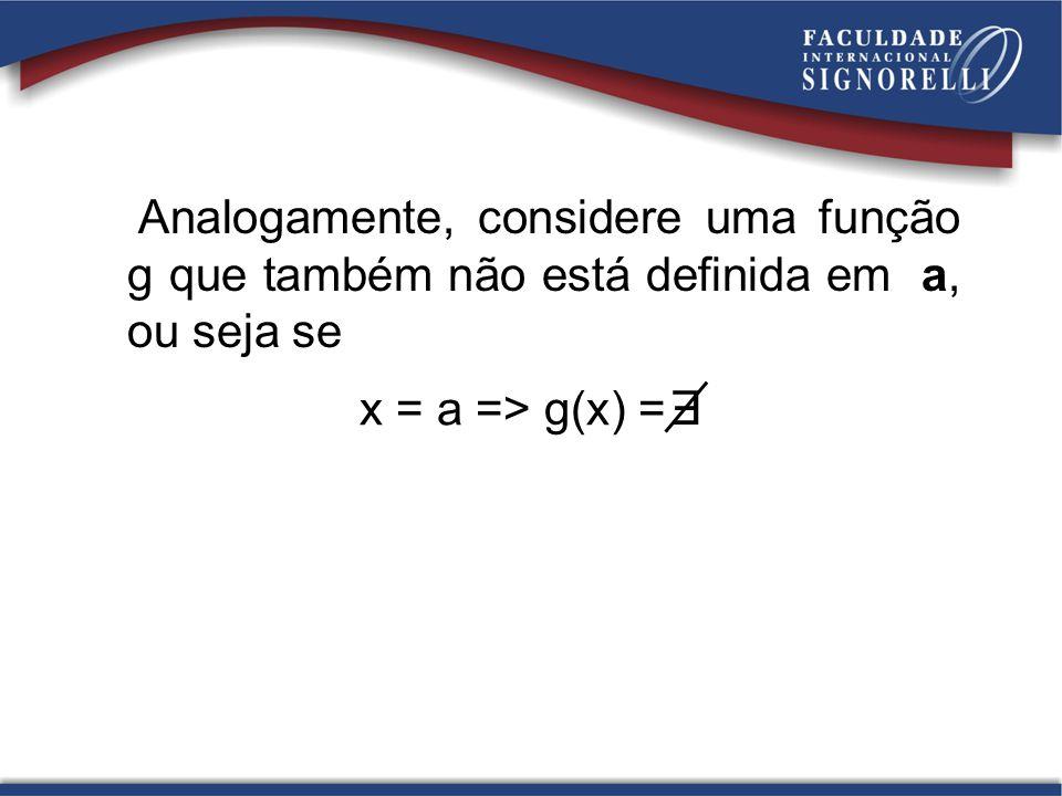 Analogamente, considere uma função g que também não está definida em a, ou seja se x = a => g(x) = E