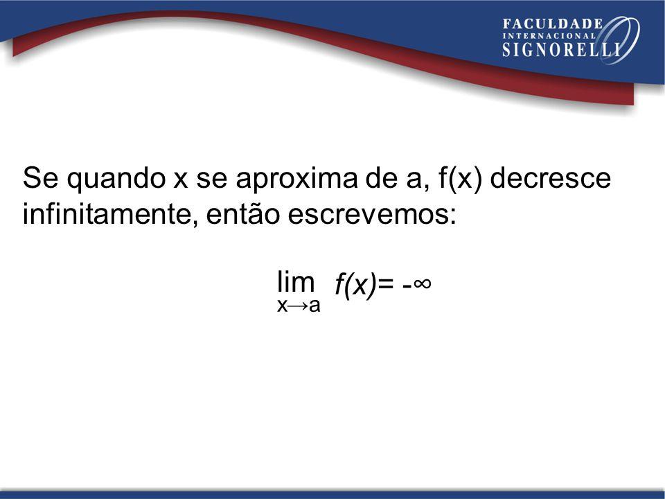 Se quando x se aproxima de a, f(x) decresce infinitamente, então escrevemos: lim xa f(x)= -