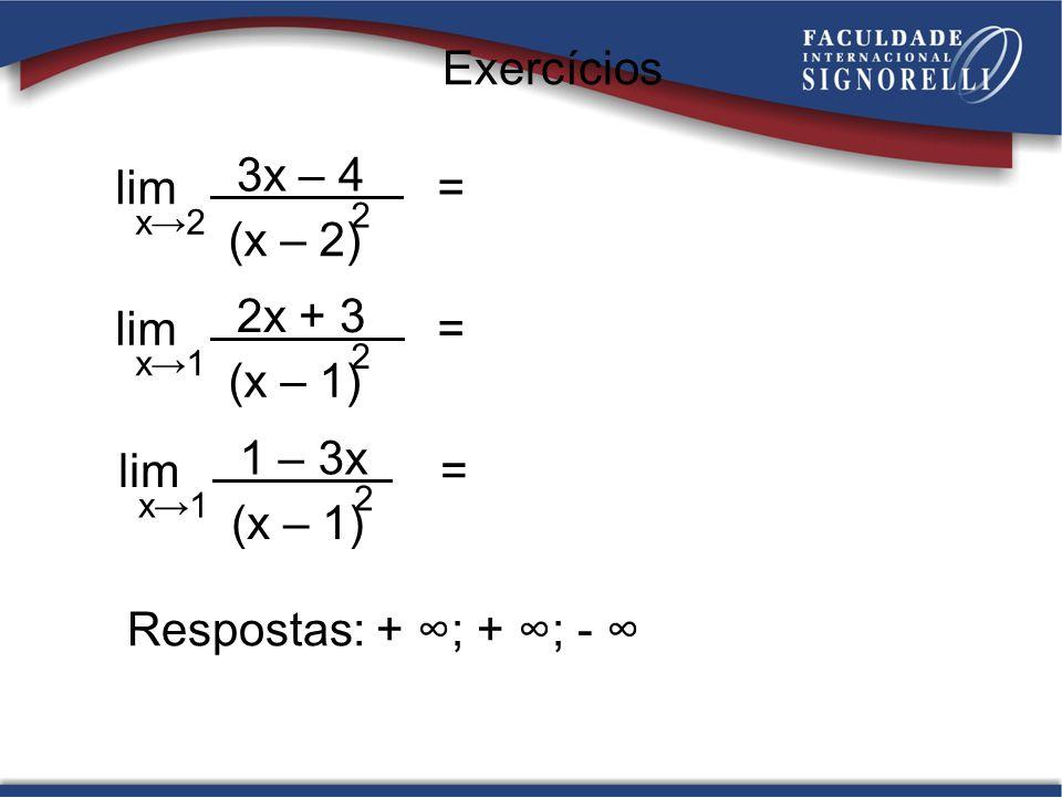 Respostas: + ; + ; - lim = x2 3x – 4 (x – 2) 2 lim = x1 2x + 3 (x – 1) 2 Exercícios lim = x1 1 – 3x (x – 1) 2