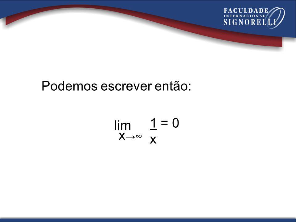 Podemos escrever então: lim x 1 = 0 x