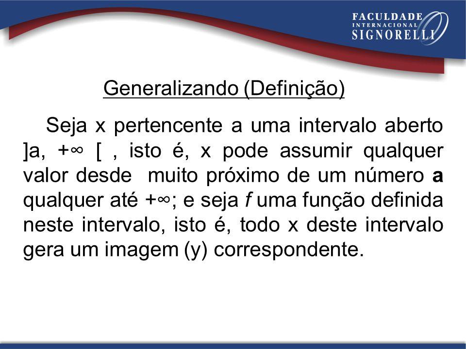 Generalizando (Definição) Seja x pertencente a uma intervalo aberto ]a, + [, isto é, x pode assumir qualquer valor desde muito próximo de um número a
