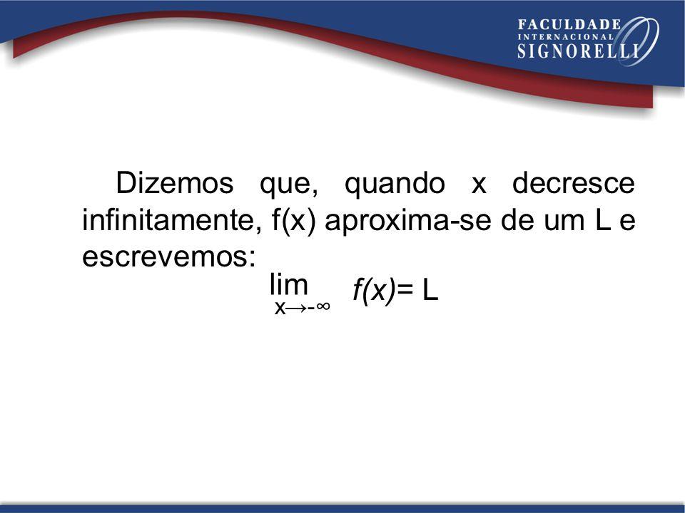 Dizemos que, quando x decresce infinitamente, f(x) aproxima-se de um L e escrevemos: lim x- f(x)= L
