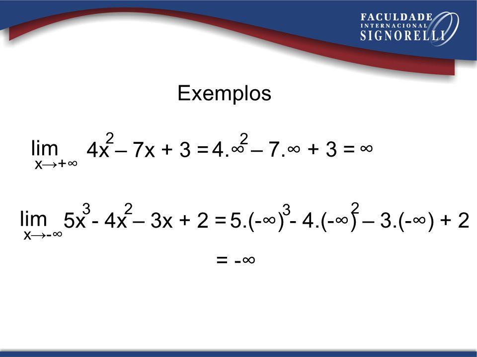 Exemplos lim x+ 4x – 7x + 3 = 2 4. – 7. + 3 = 2 = - lim x- 5x - 4x – 3x + 2 = 32 5.(-) - 4.(-) – 3.(-) + 2 3 2