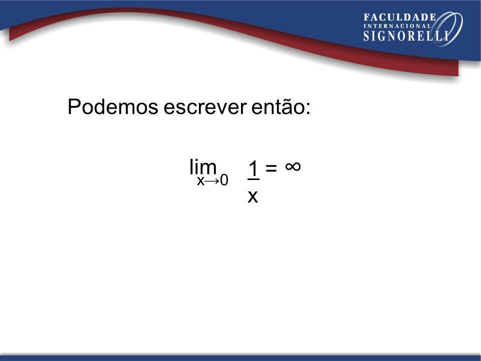 Podemos escrever então: lim x0 1 = x