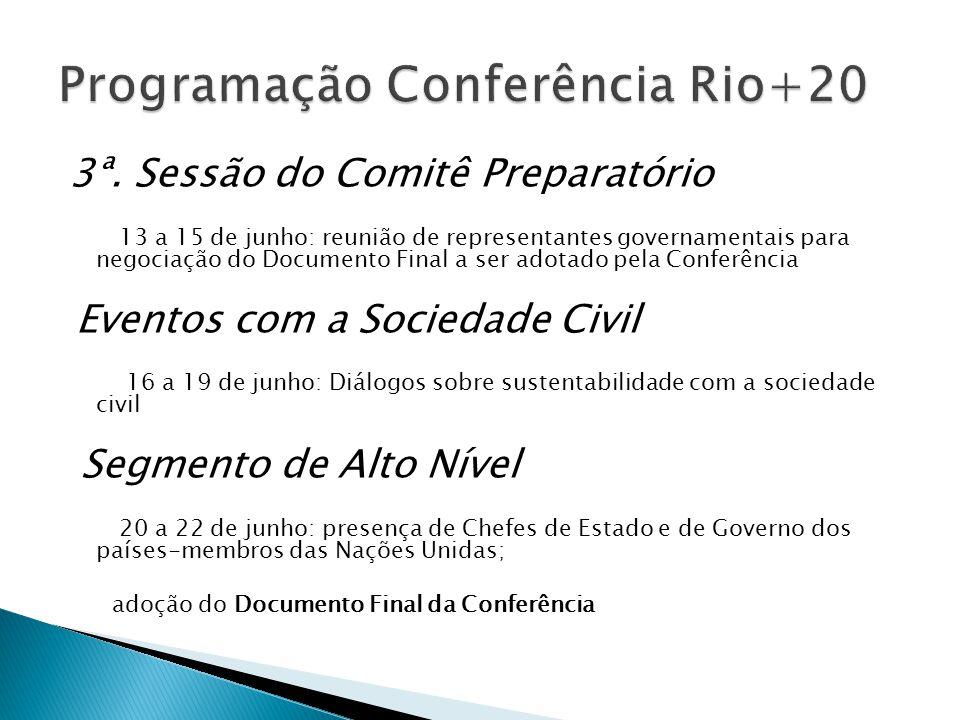3ª. Sessão do Comitê Preparatório 13 a 15 de junho: reunião de representantes governamentais para negociação do Documento Final a ser adotado pela Con