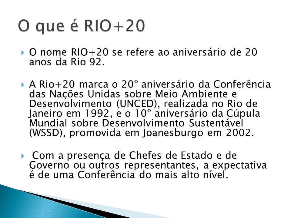 O nome RIO+20 se refere ao aniversário de 20 anos da Rio 92. A Rio+20 marca o 20º aniversário da Conferência das Nações Unidas sobre Meio Ambiente e D