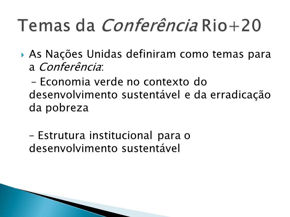 As Nações Unidas definiram como temas para a Conferência: – Economia verde no contexto do desenvolvimento sustentável e da erradicação da pobreza – Es