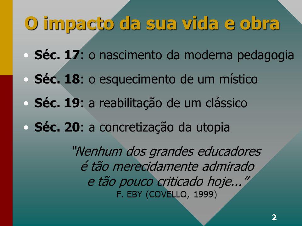 2 O impacto da sua vida e obra Séc.17: o nascimento da moderna pedagogia Séc.