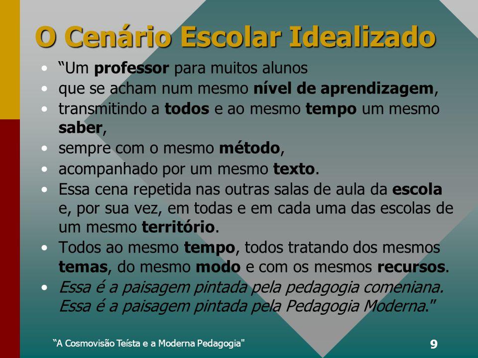 A Cosmovisão Teísta e a Moderna Pedagogia 9 O Cenário Escolar Idealizado Um professor para muitos alunos que se acham num mesmo nível de aprendizagem, transmitindo a todos e ao mesmo tempo um mesmo saber, sempre com o mesmo método, acompanhado por um mesmo texto.