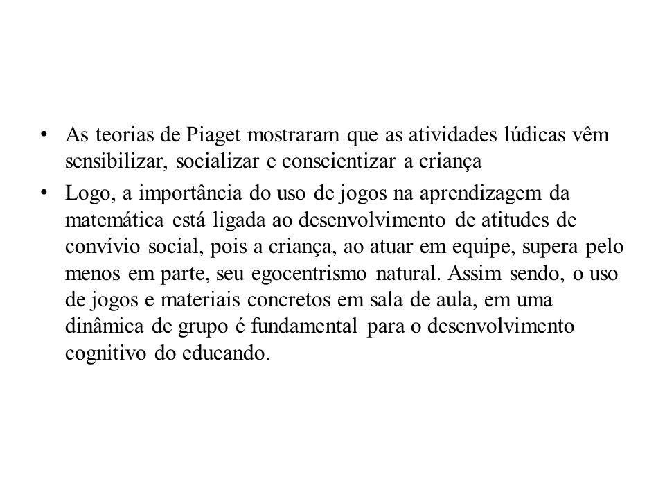 As teorias de Piaget mostraram que as atividades lúdicas vêm sensibilizar, socializar e conscientizar a criança Logo, a importância do uso de jogos na