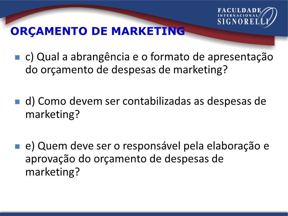 c) Qual a abrangência e o formato de apresentação do orçamento de despesas de marketing.