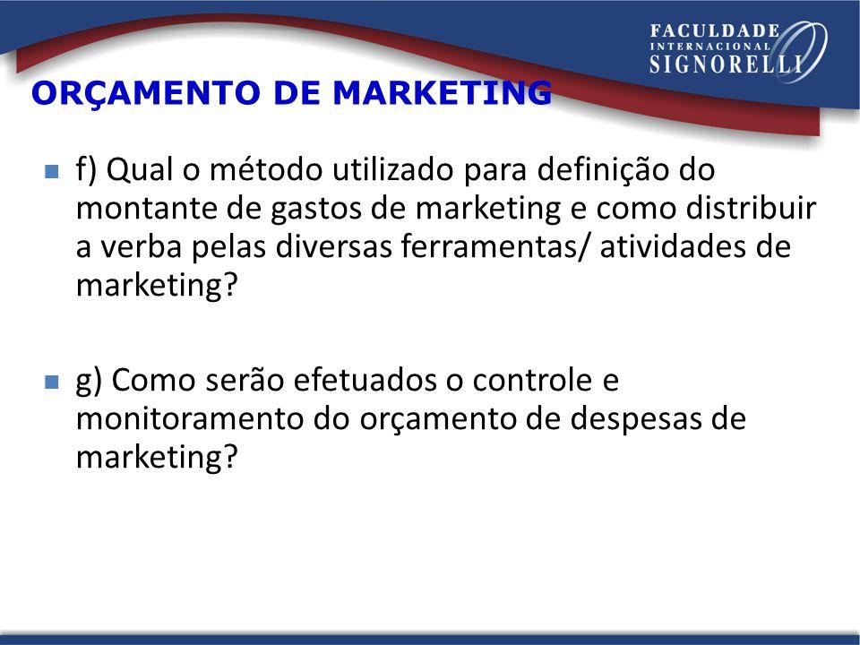 f) Qual o método utilizado para definição do montante de gastos de marketing e como distribuir a verba pelas diversas ferramentas/ atividades de marketing.
