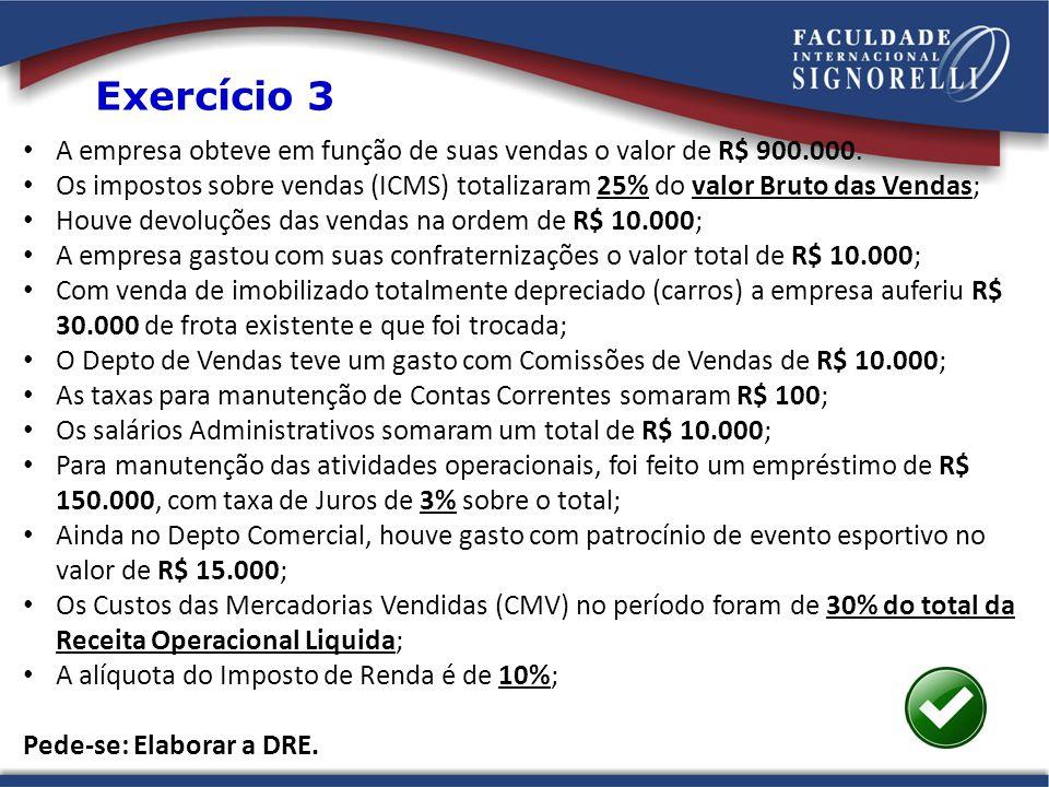 A empresa obteve em função de suas vendas o valor de R$ 900.000.