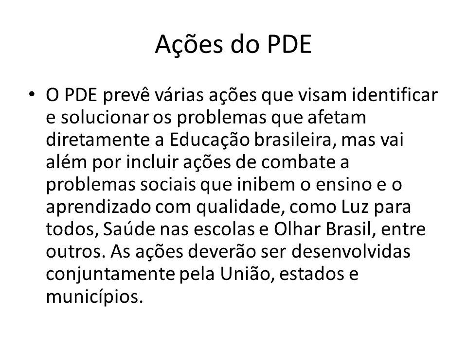 Ações do PDE O PDE prevê várias ações que visam identificar e solucionar os problemas que afetam diretamente a Educação brasileira, mas vai além por i