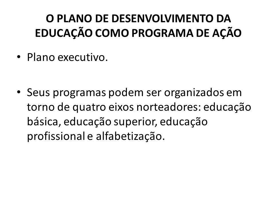 Plano executivo. Seus programas podem ser organizados em torno de quatro eixos norteadores: educação básica, educação superior, educação profissional