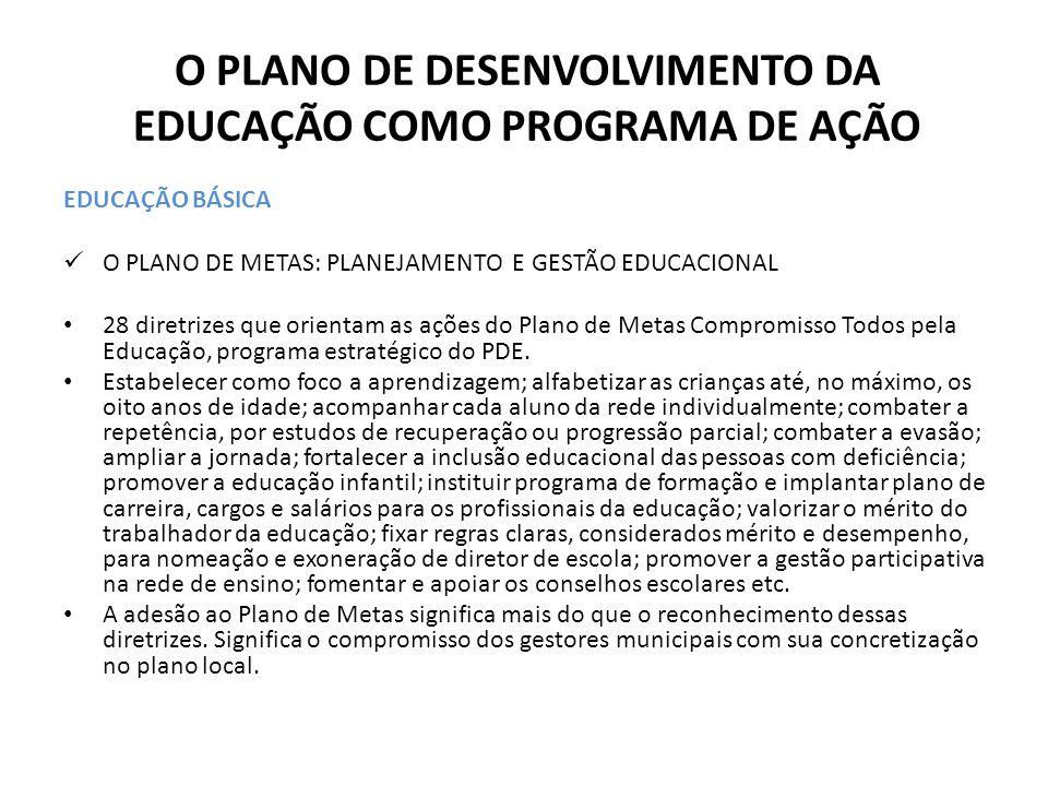 O PLANO DE DESENVOLVIMENTO DA EDUCAÇÃO COMO PROGRAMA DE AÇÃO EDUCAÇÃO BÁSICA O PLANO DE METAS: PLANEJAMENTO E GESTÃO EDUCACIONAL 28 diretrizes que ori
