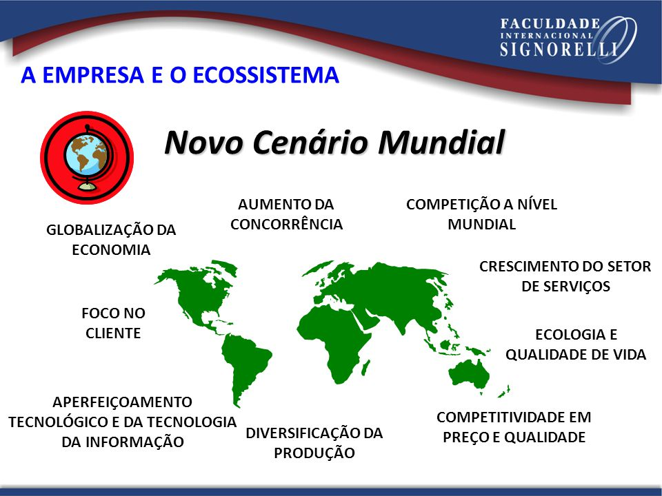 COMPETIÇÃO A NÍVEL MUNDIAL GLOBALIZAÇÃO DA ECONOMIA APERFEIÇOAMENTO TECNOLÓGICO E DA TECNOLOGIA DA INFORMAÇÃO DIVERSIFICAÇÃO DA PRODUÇÃO COMPETITIVIDA