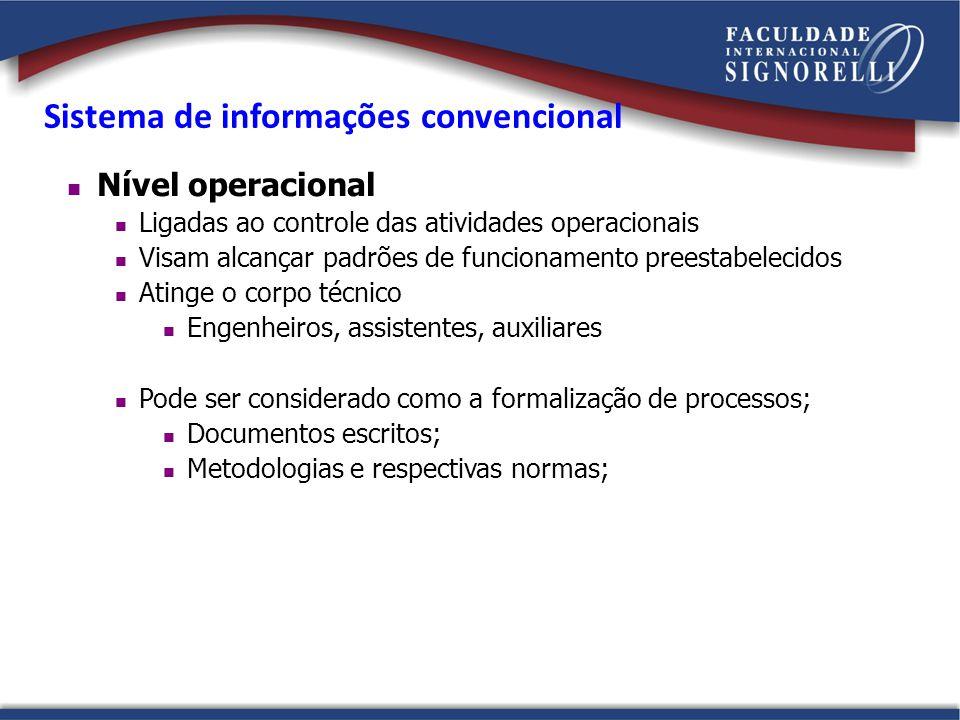 Nível operacional Ligadas ao controle das atividades operacionais Visam alcançar padrões de funcionamento preestabelecidos Atinge o corpo técnico Enge