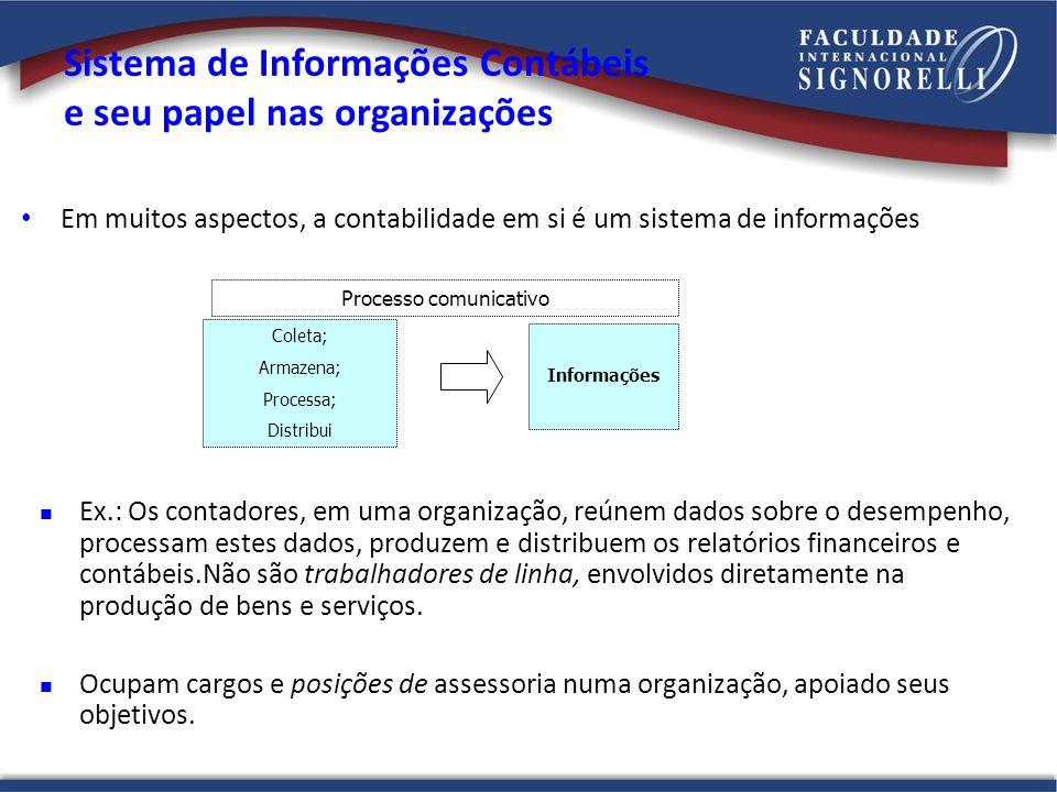 Sistema de Informações Contábeis e seu papel nas organizações Em muitos aspectos, a contabilidade em si é um sistema de informações Coleta; Armazena;