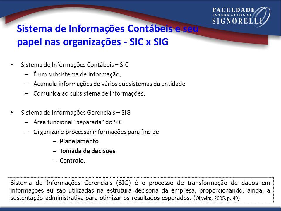 Sistema de Informações Contábeis e seu papel nas organizações - SIC x SIG Sistema de Informações Contábeis – SIC – É um subsistema de informação; – Ac