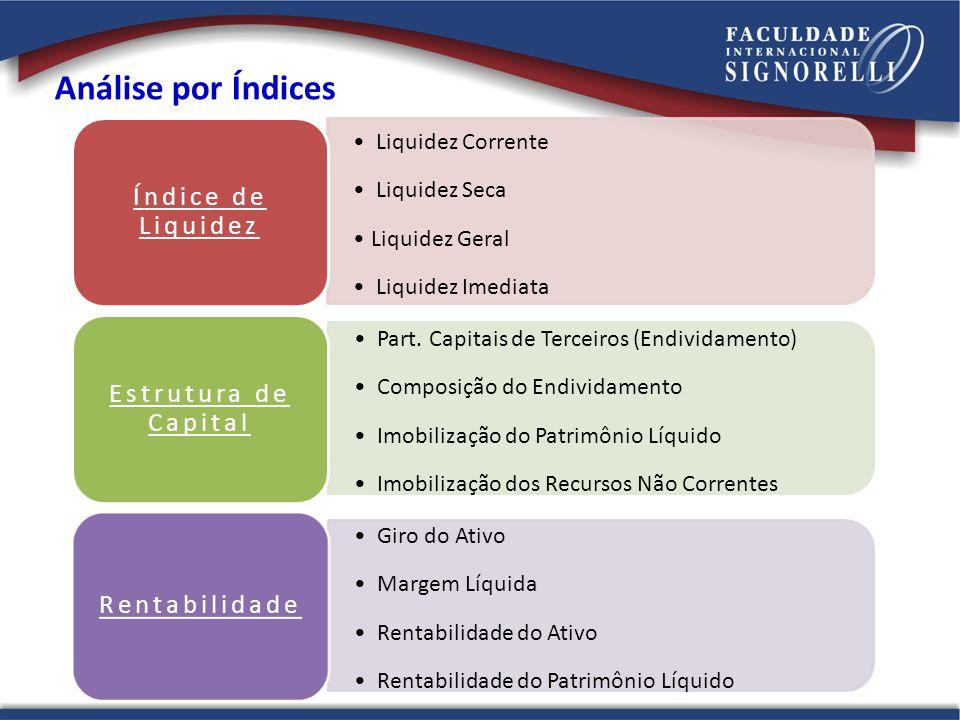 Liquidez Corrente Liquidez Seca Liquidez Geral Liquidez Imediata Índice de Liquidez Part. Capitais de Terceiros (Endividamento) Composição do Endivida