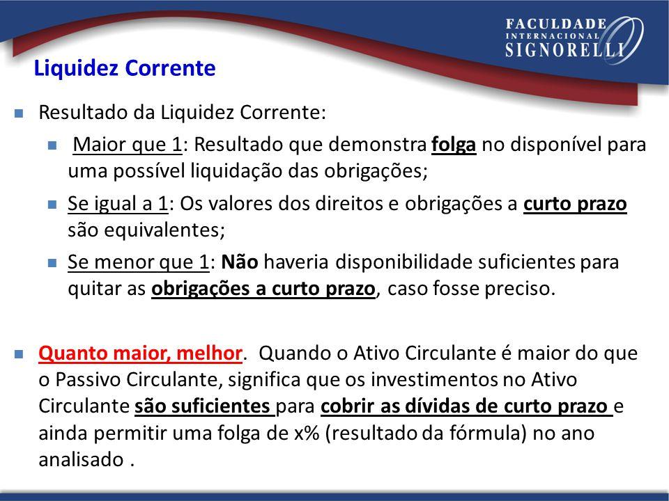 Resultado da Liquidez Corrente: Maior que 1: Resultado que demonstra folga no disponível para uma possível liquidação das obrigações; Se igual a 1: Os
