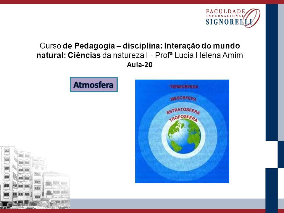 Curso de Pedagogia – disciplina: Interação do mundo natural: Ciências da natureza I - Profª Lucia Helena Amim Aula-20