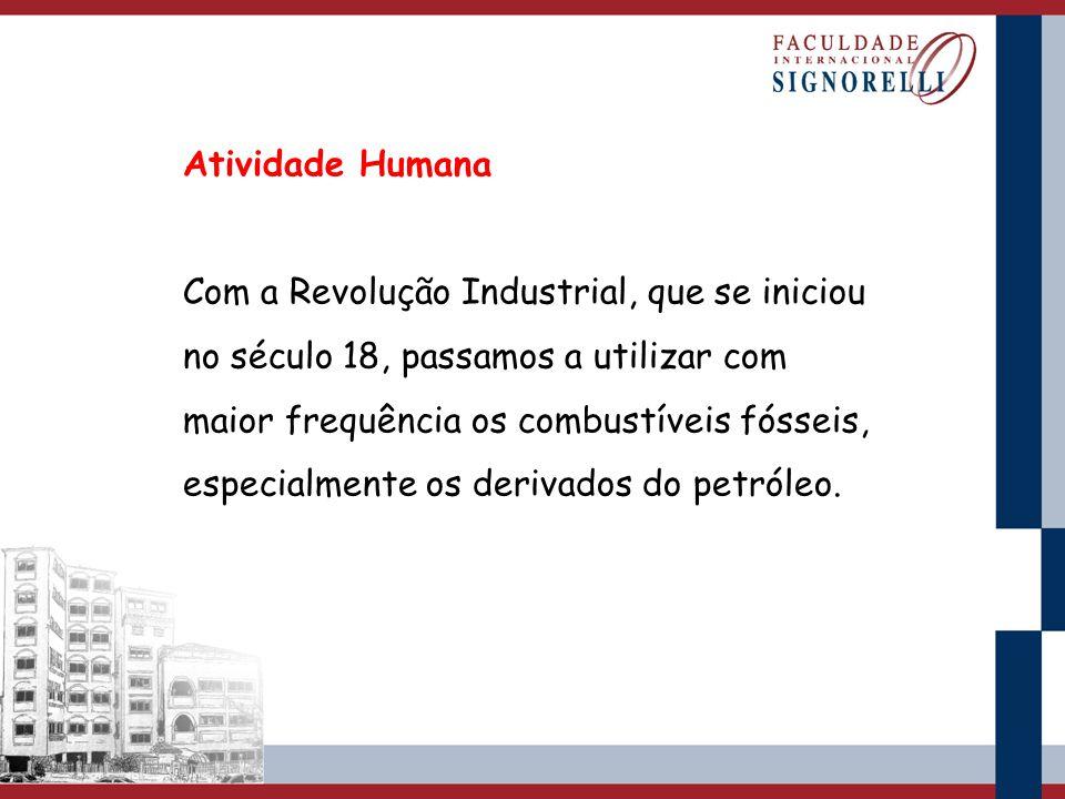 Atividade Humana Com a Revolução Industrial, que se iniciou no século 18, passamos a utilizar com maior frequência os combustíveis fósseis, especialme