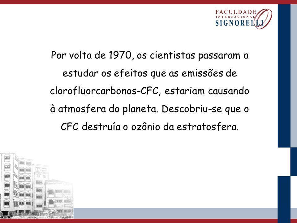 Por volta de 1970, os cientistas passaram a estudar os efeitos que as emissões de clorofluorcarbonos-CFC, estariam causando à atmosfera do planeta. De