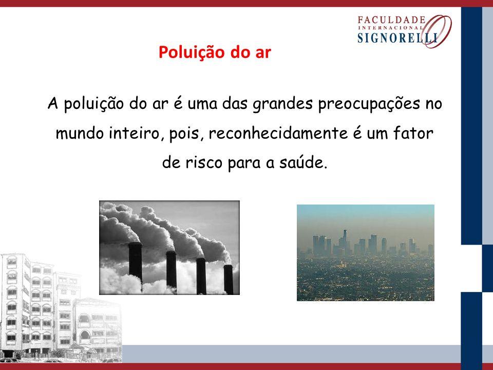 A poluição do ar é uma das grandes preocupações no mundo inteiro, pois, reconhecidamente é um fator de risco para a saúde. Poluição do ar