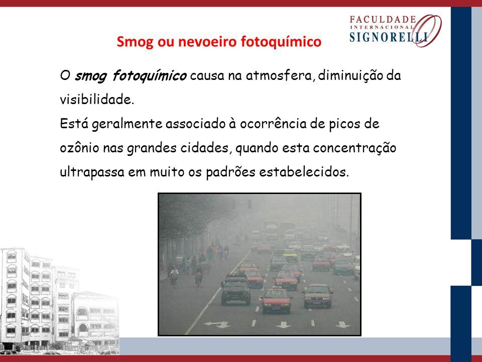 Smog ou nevoeiro fotoquímico O smog fotoquímico causa na atmosfera, diminuição da visibilidade. Está geralmente associado à ocorrência de picos de ozô