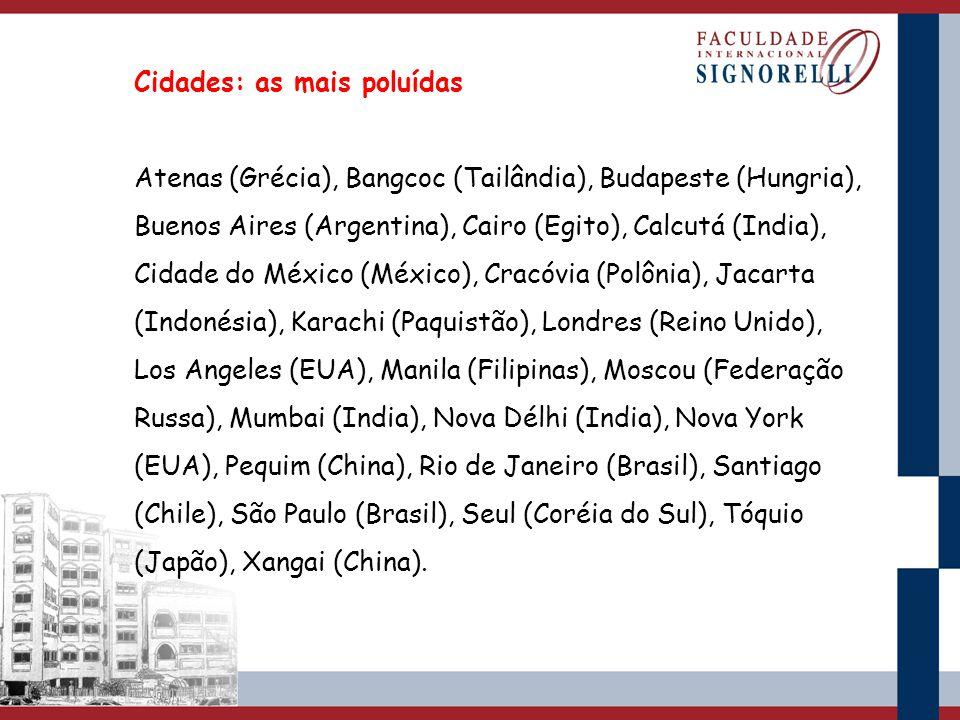 Cidades: as mais poluídas Atenas (Grécia), Bangcoc (Tailândia), Budapeste (Hungria), Buenos Aires (Argentina), Cairo (Egito), Calcutá (India), Cidade