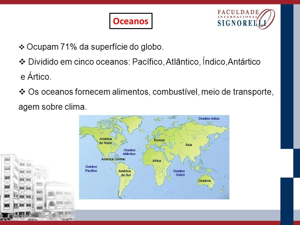 Oceanos Ocupam 71% da superfície do globo. Dividido em cinco oceanos: Pacífico, Atlântico, Índico,Antártico e Ártico. Os oceanos fornecem alimentos, c