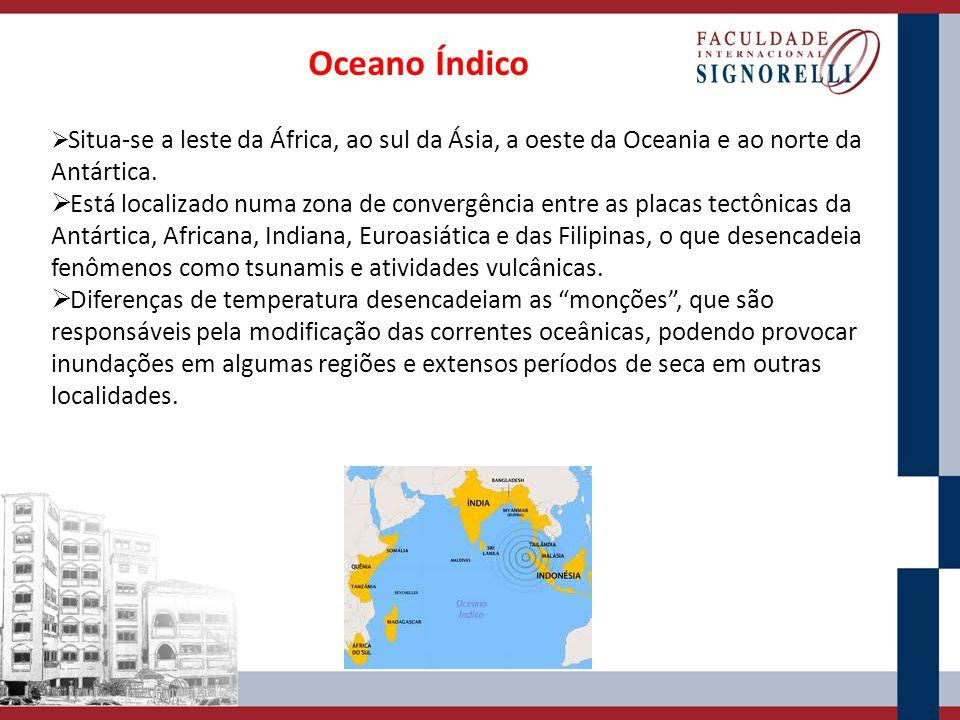 Oceanos Glacial Ártico e Antártico Antártico Banha o extremo meridional da América do Sul, ao sul dos oceanos Atlântico, Pacífico e Índico.