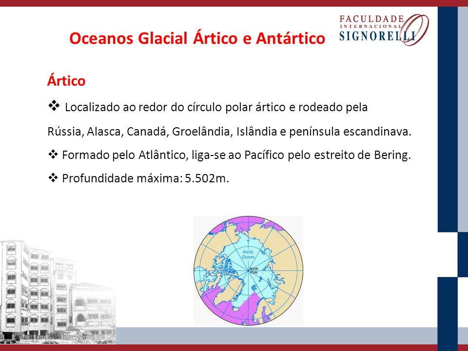Oceanos Glacial Ártico e Antártico Ártico Localizado ao redor do círculo polar ártico e rodeado pela Rússia, Alasca, Canadá, Groelândia, Islândia e pe