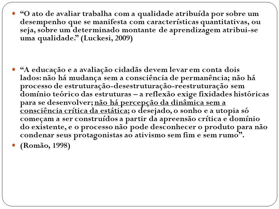 O ato de avaliar trabalha com a qualidade atribuída por sobre um desempenho que se manifesta com características quantitativas, ou seja, sobre um dete