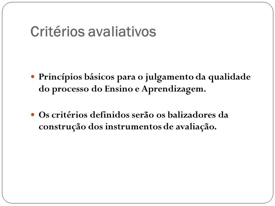 Critérios avaliativos Princípios básicos para o julgamento da qualidade do processo do Ensino e Aprendizagem. Os critérios definidos serão os balizado